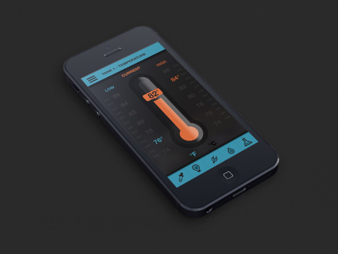 Reef App Temperature Screen